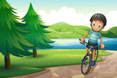 A boy biking near the pine trees at the riverside — Stock Vector