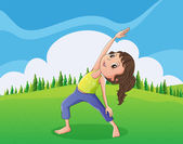 A cute little girl exercising at the hilltop — Stock Vector