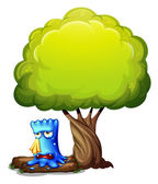 A monster crying under the tree — Stock Vector