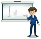 A man explaining the graph in the bulletin board — Stock Vector