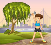 A girl exercising near the giant tree — Stock Vector