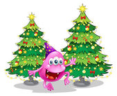 A pink beanie monster near the green christmas trees — Stockvector