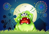 A monster shouting in front of the amusement park — Stock Vector