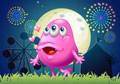 An in-love pink monster at the carnival — Stock Vector