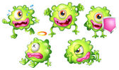 Different emotions of a green monster — Vector de stock
