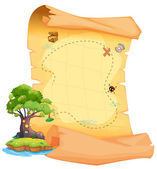 A treasure map with an island — Stock Vector