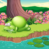 A monster lying at the riverbank — Stock Vector