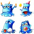 Stock Vector: Four blue monsters