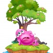 A pink beanie monster resting under the tree house in the island — Vettoriali Stock