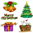 A group of christmas decors — Imagen vectorial
