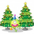 Stock Vector: Two tall christmas trees at the back of a happy green monster