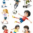 Kids engaging in different sports activities — Stock Vector