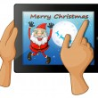 A finger touching a gadget with a smiling Santa — Stock Vector