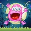 Amusement park with very happy beanie monster — Wektor stockowy #33469991