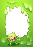 A green border design with a green death monster — Stock Vector