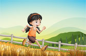 A girl running at the farm — Stock Vector