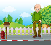 An old man at the road with a cane — Stock Vector