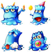 Four blue monsters — Stock Vector