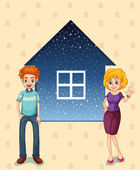 A mother and a father in front of the house — Stock Vector