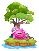 A pink beanie monster resting under the tree house in the island — Vecteur