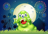 A green monster scaring at the amusement park — Stock Vector