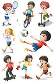 Kids engaging in different sports activities — 图库矢量图片
