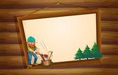 A hanging wooden signboard with a lumberjack chopping the woods — Stock Vector