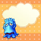 A blue monster feeling down near the empty cloud template — Stock Vector