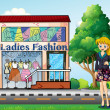 A lady in front of the ladies fashion store — Stock Vector
