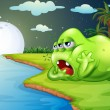 A sleepy monster at the riverside — Stock Vector