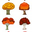 Eight different trees — Imagen vectorial