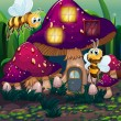 Vector de stock : Dragonflies near enchanted mushroom house