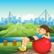 A girl exercising near the river across the tall buildings — 图库矢量图片