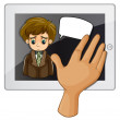 A hand touching the gadget with a sad man — Stock Vector #33470253