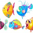 Stock Vector: A group of smiling fishes