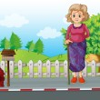 An old woman with a cane standing at the roadside near the mailb — Stock Vector #33470371