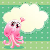 A lovable pink monster with an empty cloud template — Stock Vector