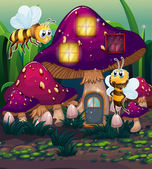 Dragonflies near the enchanted mushroom house — Stok Vektör
