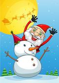 A happy Santa Claus at the back of the snowman — Stock Vector