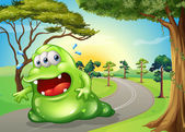 A fat monster jogging at the road — Stock Vector