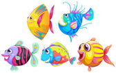 A group of smiling fishes — Stock Vector