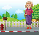An old woman with a cane standing at the roadside near the mailb — Stock Vector