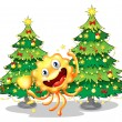 A monster near the christmas trees holding a trophy — Stock Vector