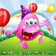 Happy pink beanie monster jumping at hilltop — Stockvector #33634657