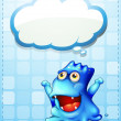Happy blue monster with empty cloud callout — Stock Vector #33634673