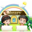 Stock Vector: Two kids with empty signboards standing in front of the library