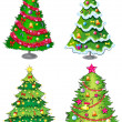 Stock Vector: Four christmas trees