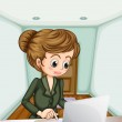 A serious businesswoman using the laptop — Stock Vector #33634989
