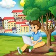 A young boy using the laptop under the tree at the riverbank — Stockvector