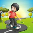 A boy skateboarding at the road — Stock Vector